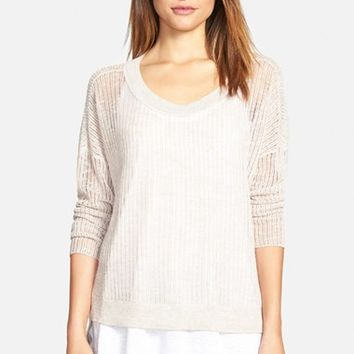 Petite Women's Eileen Fisher Organic Linen & Cotton Boxy Sweater (Online Only)