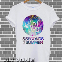 Band Shirt - 5sos Shirt 5 Second Of Summer Galaxy Logo Shirt 5 sos T-shirt Printed Black and White Color Unisex Size - AR05