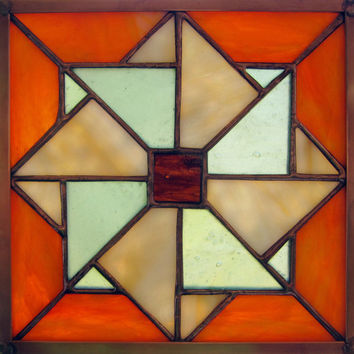 """Stained Glass Rich Orange Double Pinwheel Appalachian Quilt 6"""" Square with Copper Frame Handmade Glass"""