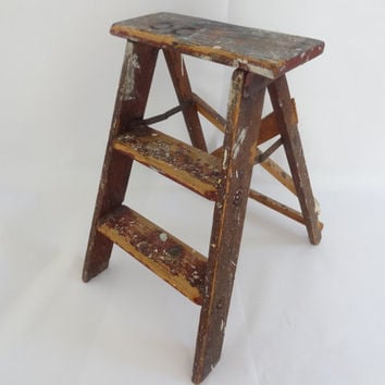 Wooden step ladder vintage wood step stool weathered rustic