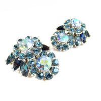 Vintage Crown Trifari Blue Rhinestone Earrings, Floral Flower Earrings, Silver tone