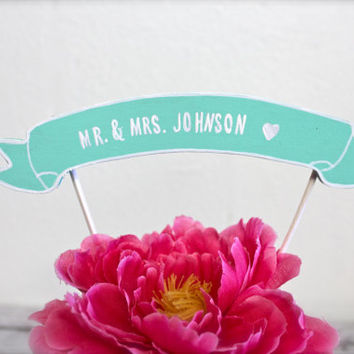 Cake Topper Banner - Wedding Cake Topper - Birthday Cake- Baby Shower Cake - Custom Colors