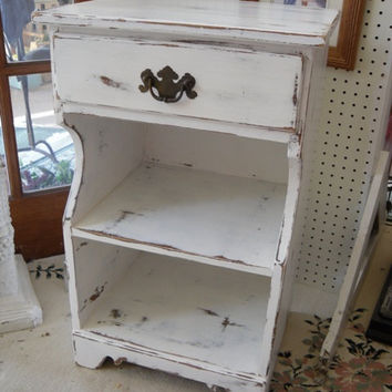 Cottage Chic Painted Nightstand, Shabby Chic, One Drawer Nightstand, Side Table