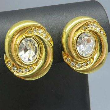 Napier Rhinestone Earrings, Vintage Oval Gold Tone Clip-on Earrings, Bridal Jewelry