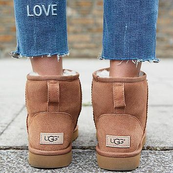 """""""UGG"""" Winter Popular Women Cute Ankle Wool Snow Boots Brown I/A"""