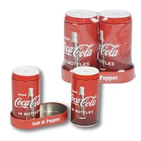 Coca Cola Salt And Pepper Shaker With Tray - 12 Units