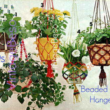 Beaded Plant Hanger Pattern 5 Macrame Patterns 1970s Vintage Planters Lovingly ENLARGED Print Diagrams Instant Download PDF Pattern