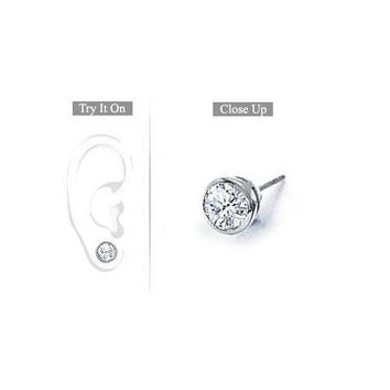 Mens 18K White Gold : Bezel-Set Round Diamond Stud Earrings – 1.00 CT. TW.