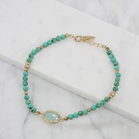 In The Groove Anklet in Turquoise and Gold