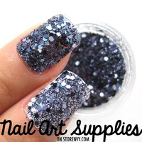 Purple Ash - Dark Purple Blue Raw Nail Glitter Mix 3.5 Grams from nailartsupplies