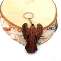 Angel Wooden Keychain, Angel ornament Keychain, Walnut Wood, Environmental Friendly Green