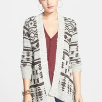 Junior Women's Woven Heart Shawl Collar Open Cardigan