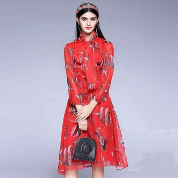 Fishes Print Womens Cute Dress Full Puff Sleeve Slim Knee Length Red Sweet Dress