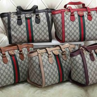 """""""Gucci"""" Men Fashion Casual Simple Classic Print Stripe All-match Large Capacity Travel Double Shoulder Bag"""