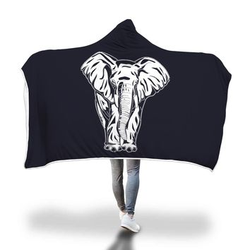Elephant Hooded Blanket Adult And Youth Sizes Black Color