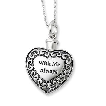 Sterling Silver With Me Always Heart Ash Holder Necklace, 18 Inch