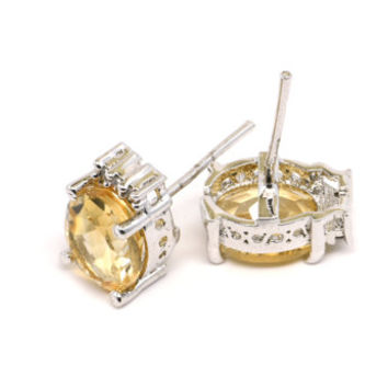 Golden Topaz Stud Earrings, Handcrafted Sterling Silver and Topaz Earrings, Fine Jewelry, Topaz and Cubic Zirconia Earrings