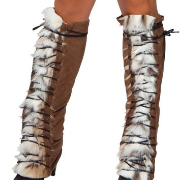 Roma RM-LW4206 Fur/Suede Lace up Leg