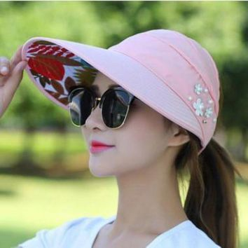 LMFG8W 2017Summer Style Women Foldable Wide Large Brim Floppy Beach Gorro Baseball Cap  Outdoors Cap Sun Collapsible Anti-Uv Hat