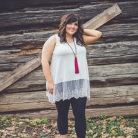 PLUS SIZE: Victorian Lace Tank Top in Cream