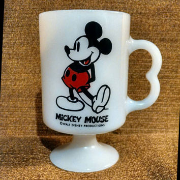 Vintage Mickey Mouse Mug, Milk Glass Pedestal Mug, Disney Mug