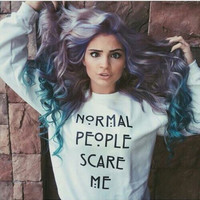 NORMAL PEOPLE SCARE ME fashion pullovers women casual tops long sleeve sweatshirt tumblr girls jumper outfits hoodies