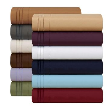Bedding Set Fitted sheet Flat sheet Pillowcase 3/4pcs US Size Egyptian Comfort 1800 Count 4 Piece Deep Pocket Bed Sheet Set
