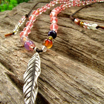 Karen Hill Tribe Silver Leaf Cherry Quartz / Dragon Vein Agate Bead Pink Stone Long Necklace / Short Necklace