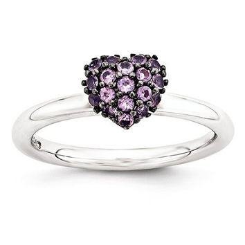 Sterling Silver Amethyst Stackable Expressions Heart Ring