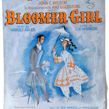 "Old Sheet Music. ""Evelina"" Music by Harold Arlen. Lyrics by EY Harburg. From the Play - ""Bloomer Girl."" Sheet Music Art. Vintage Sheet Music"