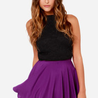 For Sienna Pure Talent Purple Flared Mini Skirt