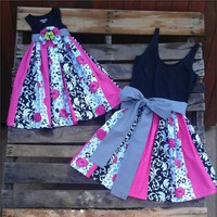 Boho Women Lady Mother Daughter Summer Family Matching Mini Dress Outfit Clothes