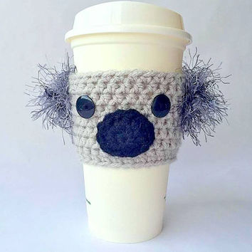 Crochet Koala Coffee Cozy, Crochet Coffee Cozy, Coffee Cozy, Coffee Sleeve, Koala Coffee Sleeve, Mug Cozy, Coffee Cup Cozy, Koala, Coffee