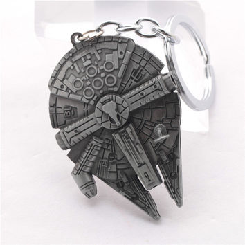 The Moive StarWars Spacecraft alloy silver metal keychain pendant Key Chains star wars ship Keyrings chaveiro llaveros for men