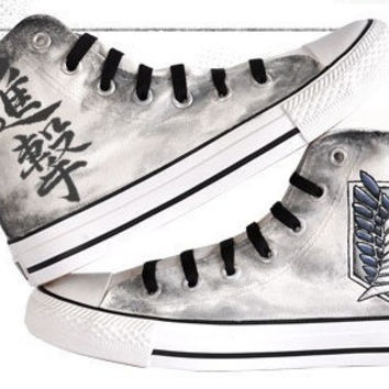 b21276a6fa05e3 attack on titan converse hand painted converse anime shoes anime converse  attack on titan mens shoes