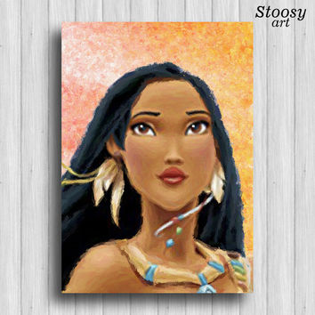 Pocahontas poster disney princess watercolor nursery girl painting