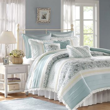 9-Piece Cotton Percale Comforter Set - Coral - Cal King - Shabby Chic, Ruched & Paisley Design
