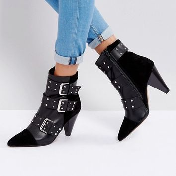 New Look Stud Buckle Ankle Boot With Cone Heel at asos.com