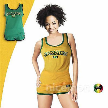 Ladies Women Jamaica Top & Shorts Set Jamaican Colors Reggae Wear Irie Kingston 1LOVE