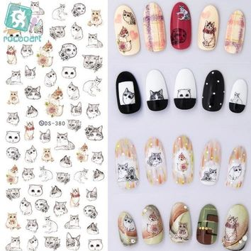 Rocooart DS373-384 Water Transfer Nails Art Sticker Harajuku Element Cats Kitty Caterpillar Nail Wrap Sticker sticker