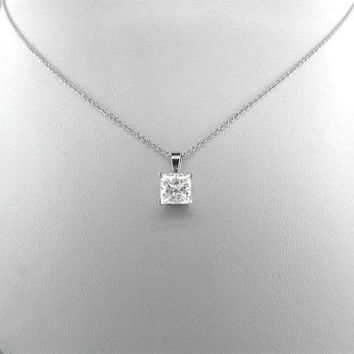 SALE A Perfect 4CT Princess Cut Russian Lab Diamond Solitaire Pendant Necklace