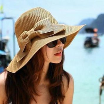 PEAP78W Women Summer Beach Cap Bowknot Sun Hat Traveling Floppy Straw Hat Wide Brimmed