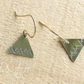 Mountain Earrings, Mountain Jewelry, Nature Jewelry, Triangle Earrings, Geometric Earrings, Brass Earrings, Tribal Earrings, Gifts for Her