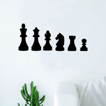 Chess Pieces V2 Decal Sticker Wall Vinyl Art Wall Bedroom Room Home Decor Teen Inspirational Teen Kids Board Game Smart School