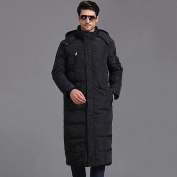 Hood Winter Jacket Men Down Parkas Warm Coats Snow Clothes Brand Clothing X Long Thicker Large Size 4XL 90% White Duck Down
