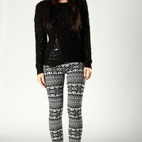 Selina Fairisle Monochrome Leggings at boohoo.com