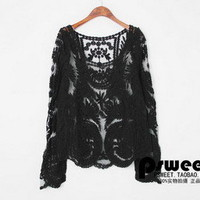 Fashion Sexy Womens Hollow Lace Shirts boat neck long sleeve tops