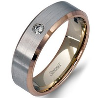 Simon G. White and Rose Gold Two-Tone 5.5 MM Diamond Wedding Band