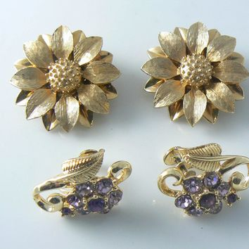 Gold Flower Sarah Coventry And Purple Rhinestone Earrings