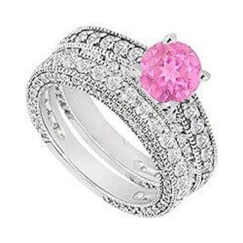 14K White Gold Pink Sapphire & Diamond Engagement Ring with Wedding Band Sets 2.50 CT TGW